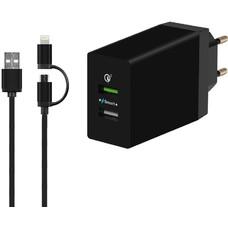 Сетевое зарядное устройство DF Tor-03, USB, набор разъемов, 3A, черный