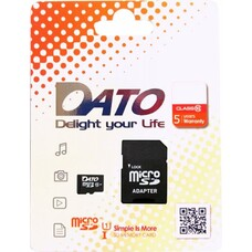 Карта памяти microSDHC UHS-I U1 DATO 16 ГБ, 40 МБ/с, Class 10, DTTF016GUIC10, 1 шт., переходник SD