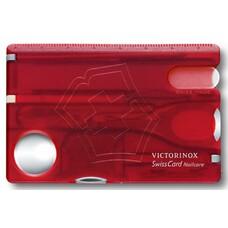 Швейцарская карта Victorinox SwissCard Nailcare (0.7240.T) красный полупрозначный коробка подарочная