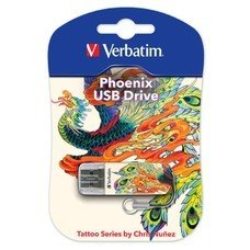 Флешка USB VERBATIM Store n Go Mini Tattoo Edition Phoenix 16Гб, USB2.0, белый и рисунок [49887]