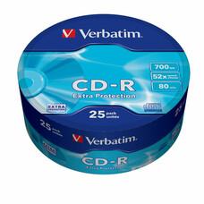 Оптический диск CD-R VERBATIM 700Мб 52x, 25шт., 43726, cake box
