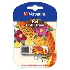 Флешка USB VERBATIM Store n Go Mini Tattoo Koi 16Гб, USB2.0, белый и рисунок [49886]