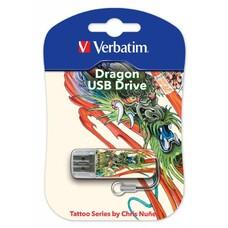 Флешка USB VERBATIM Mini Tattoo Dragon 16Гб, USB2.0, белый и рисунок [49888]
