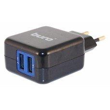 Сетевое зарядное устройство BURO TJ-134b,  2xUSB,  3.1A,  черный