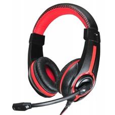 Наушники с микрофоном OKLICK HS-L200, мониторы, черный / красный [y-819]