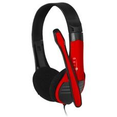 Наушники с микрофоном OKLICK HS-M150, накладные, черный / красный [no-003n]
