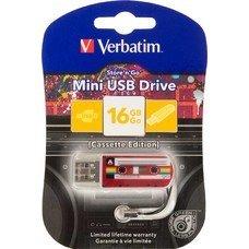 Флешка USB VERBATIM Mini Cassette Edition 16Гб, USB2.0, красный и рисунок [49398]