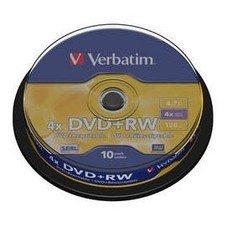 Оптический диск DVD+RW VERBATIM 4.7Гб 4x, 10шт., cake box [43488]