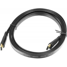 Кабель аудио-видео BURO Flat, HDMI (m) - HDMI (m) , ver 1.4, 2м, FLAT черный [bhp hdmi 2]