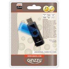 Картридер внешний GINZZU GR-412B, черный