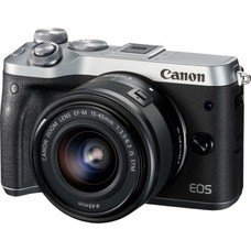 Фотоаппарат CANON EOS M6 kit ( 15-45 IS STM f/ 3.5-6.3), черный/ серебристый [1725c012]