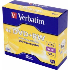 Оптический диск DVD+RW VERBATIM 4.7Гб 4x, 5шт., jewel case [43229]
