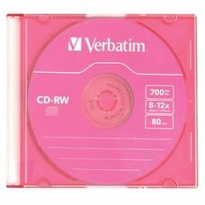 Оптический диск CD-RW VERBATIM 700Мб 12x, 1шт., 43167, slim case, разноцветные