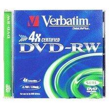 Оптический диск DVD-RW VERBATIM 4.7Гб 4x, 1шт., jewel case [43285]