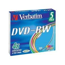 Оптический диск DVD-RW VERBATIM 4.7Гб 4x, 5шт., slim case, разноцветные [43563]