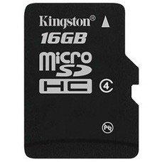 Карта памяти microSDHC KINGSTON 16 ГБ, Class 4, SDC4/16GBSP