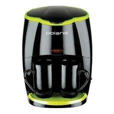 Кофеварка POLARIS PCM0210, капельная, черный / салатовый
