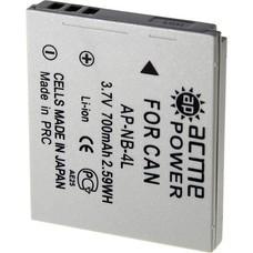 Аккумулятор ACMEPOWER AP-NB-4L, Li-Ion,  3.7В,  600мAч,  для компактных камер Canon IXUS 115HS/130/220HS/230HS/30/40/50/55/60/65/70/75/80IS/100IS/110IS