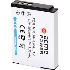 Аккумулятор ACMEPOWER AP-EN-EL12, Li-Ion,  3.7В,  900мAч,  для компактных камер Nikon CoolPix AW100/P300/P310/S1000pj/S1100pj/S1200pj/S6000/S610/S610c/S6100/S6150