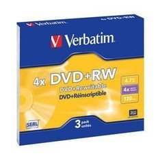 Оптический диск DVD+RW VERBATIM 4.7Гб 4x, 3шт., slim case [43636]