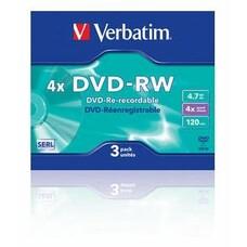 Оптический диск DVD-RW VERBATIM 4.7Гб 4x, 3шт., 43635, slim case