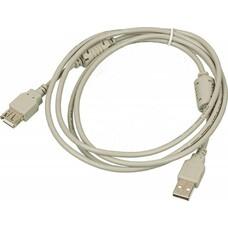 Кабель-удлинитель USB2.0 USB2.0-AM-AF-1.8M-MG, USB A(m) - USB A(f), ферритовый фильтр , 1.8м, серый
