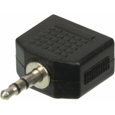 Адаптер аудио NINGBO JAAA095-B, 2xJack 3.5 (f) - Jack 3.5 (m) , черный