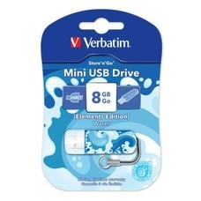 Флешка USB VERBATIM Store n Go Mini Elements Water 8Гб, USB2.0, голубой [98159]