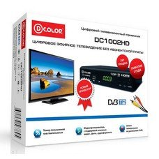 Ресивер DVB-T2 D-COLOR DC1002HD, черный