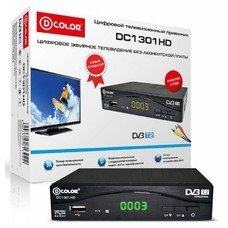 Ресивер DVB-T2 D-COLOR DC1301HD, черный