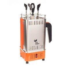Шашлычница электрическая Kitfort KT-1403 900Вт серебристый/оранжевый