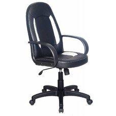 Кресло руководителя БЮРОКРАТ CH-826, на колесиках, искусственная кожа, черный/белый [ch-826/b+wh]